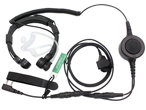 SUNDELY Military Grade Tactical Throat Mic Headset/Earpiece with BIG Finger PTT for Baofeng Radios Walkie Talkie UV-5R BF-530 BF-777 BF-V6 C150 2-pin (Dual Ptt Throat Mic)