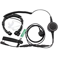 SUNDELY Military Grade Tactical Throat Mic Headset/Earpiece with BIG Finger PTT for Baofeng Radios Walkie Talkie UV-5R BF-530 BF-777 BF-V6 C150 2-pin