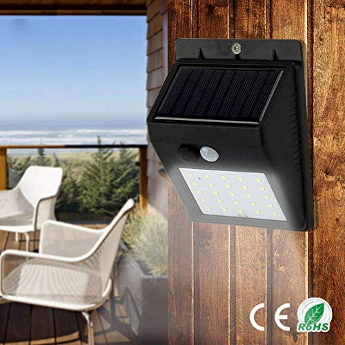 MOM'S GADGETS 20 LED Solar Power Sensor Wall Light Waterproof Energy Saving Street Yard Path (Black)