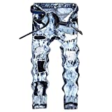 WEEN CHARM Men's Ripped Slim Fit Tapered Leg Jeans Vintage Style With Broken Holes,Light Blue,30W