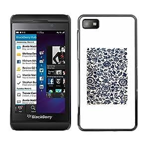 TopCaseStore / la caja del caucho duro de la cubierta de protección de la piel - White Black Minimalist Birds Flowers - Blackberry Z10