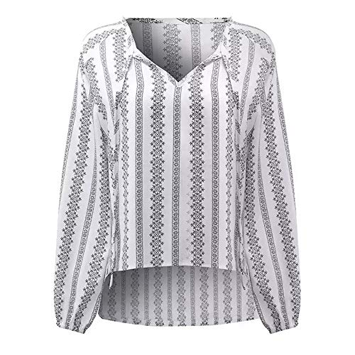 Freestyle Irregulier Imprime Printemps Col Longues T Tops Automne V Shirts Manches Blouse Fashion Shirts Blanc Femmes Hauts Casual Chemisiers Jeune WpZWfB6