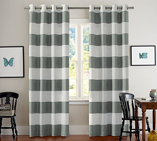 Striped Curtains Pair Window Treatment Thermal Insulated Grommet Room Darkening Curtains Drapes for Bedroom(2 Panels, 52 by 96, White and Grey)