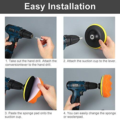 Yosoo Buffing Pads Polishing Pads, 7 Pcs Waxing Sponge Pads Kit Car Polisher with M14 Drill Adapter (7 Inch) by Yosoo (Image #5)'