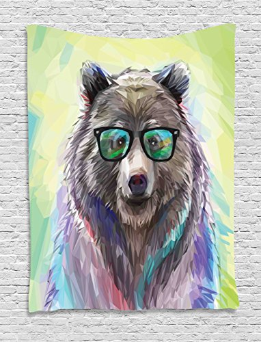 Ambesonne Animal Tapestry, Funny Cool Low Wild Hipster Bear with Spectacles Colorful Portrait, Wall Hanging for Bedroom Living Room Dorm, 60