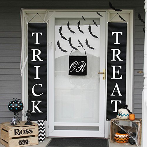 PartyTalk 3pcs Trick or Treat Halloween Banner Outdoor, Halloween Hanging Sign for Home Office Porch Front Door Halloween Decorations]()