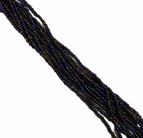 Czech Glass Beads Jet - JET Black Ab Rainbow Czech 8/0 Glass Seed Beads 1 Full 12 Strand Hank Preciosa Jablonex
