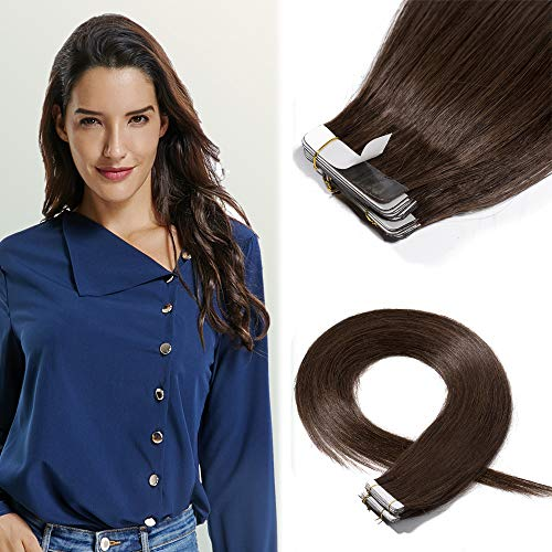 18 Inch Tape in Hair Extensions Remy Human Hair #04 Medium Brown Long Straight Hair Seamless Skin Weft Invisible Double Sided Tape 20pc/pack 50g +10 Free Tape Bonds