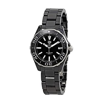 528d8be9427 Image Unavailable. Image not available for. Color  Tag Heuer Aquaracer Lady  300M 35mm Black Ceramic Watch ...