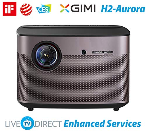 (Home Cinema Projector, XGIMI H2-Aurora Native 1080p HD Home Projector Android 3D Smart Video Movie Projector TV Built-in Harman/Kardon HiFi Stereo with LiveTV.Direct Enhanced Services Support)