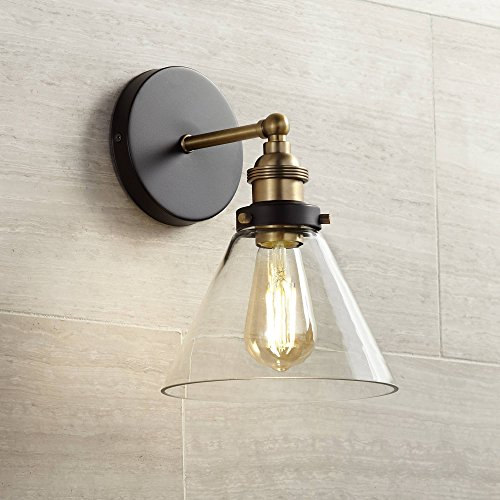 Burke Industrial Farmhouse Wall Light Sconce LED Antique Edison Black Warm Brass Hardwired 10 3/4