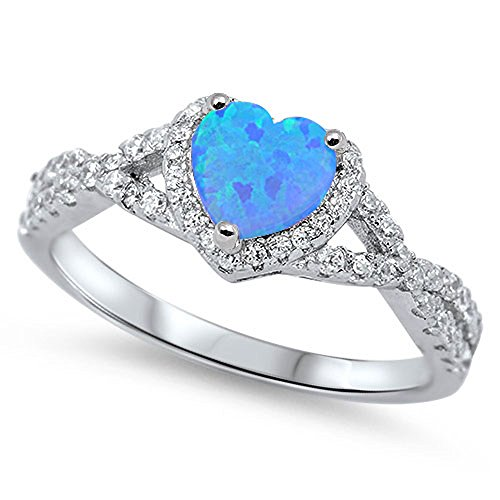 Sterling Silver Heart Halo Simulated Gemstone Promise Ring All Colors Available (Lab Created Blue Opal, - Created Diamond Promise Ring Heart