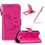 PU Leather Case For Samsung Galaxy J3 2017,Strap Magnetic Wallet Folio Cover for Samsung Galaxy J3 2017,Herzzer Elegant Slim Hot Pink [Love Hearts Flower Embossed] Stand Phone Case