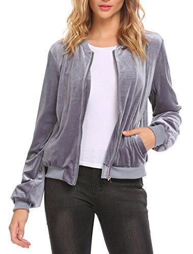 Velvet Winter Coat - Easther Women's Velvet Jacket Long Sleeve Cropped Zip Up Velvet Winter Coat Gray Small