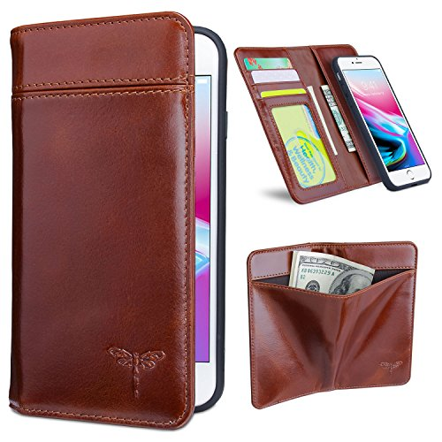 Compatible iPhone 7 Case, iPhone 8 Wallet Cases with Magnetic Detachable Case,3 Card Holder Slots,3 Bill Pockets, Premium Genuine Leather Handmade Flip Case for iPhone 7/ iPhone 8 - Dark Brown