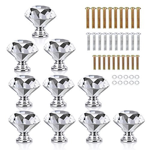 HOMEIDEAS 10PCS 30MM Crystal Knobs Glass Cabinet Knobs Drawer Pulls Handle for Home, Cabinet, Drawer and Dresser, 3 Size Screws ()