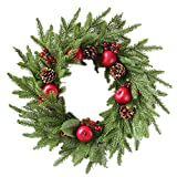 Promisen Christmas Wreath,Merry Christmas Garland Decorations with Red Berries Bells for Christmas Party Decor Front Door Wall,55-60cm Diameter (A)