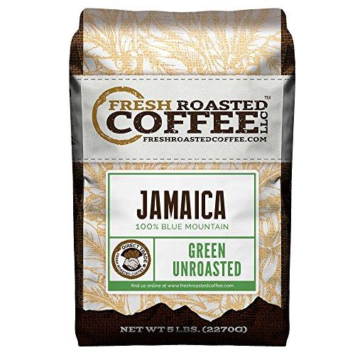 Green Unroasted Coffee, 5 Lb. Bag, Fresh Roasted Coffee LLC. (Jamaica Blue Mountain)