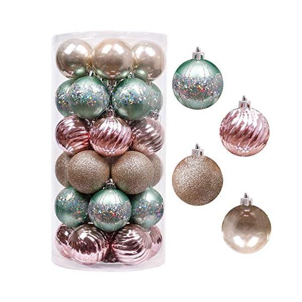 Valery Madelyn Palle di Natale 30 Pezzi 6cm Palline di Natale, Elegante Palazzo Verde Menta e Oro Rosa Infrangibile Ornamenti Palla di Natale Decorazione per Albero di Natale Decor 1 spesavip