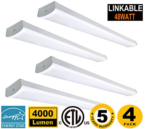 48W Linkable LED Wraparound Light 4FT,LED Shop Light for Garage 4000Lm 5000K, ETL and Energy Star Certified,LED Linear Indoor Lights,LED Puff Light,LED Ceiling Lights Commercial Lighting 50K4pk
