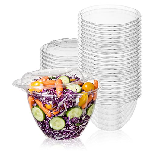 50-Pack 48oz Plastic Disposable Salad Bowls with Lids - Eco-Friendly Clear Food Containers - Extra-Thick Materials - Portable Serving Bowl Set to Pack Lunch - Super Strong Seal To Preserve ()