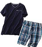 Amoy madrola Men's Cotton Soft Sleepwear/Short Sets/Pajamas Set SY227-V Navy-XL