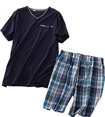 Amoy madrola Men's Cotton Soft Sleepwear/Short Sets/Pajamas Set SY227-V Navy-L -