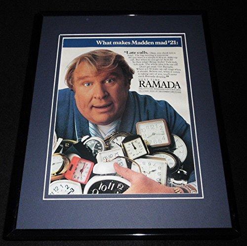 - 1986 Ramada Hotels John Madden Framed 11x14 ORIGINAL Advertisement