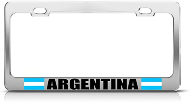 Speedy Pros Metal License Plate Frame Proud to Be American Country Car Accessories Chrome 2 Holes