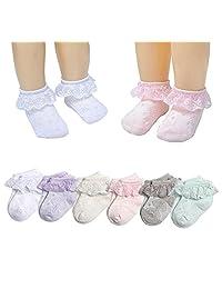 6 Pack Baby Girls Eyelet Lace Socks Infant Toddler Princess Ruffles Ankle Socks