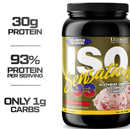 Ultimate Nutrition Sensation 93 ISO 100% Protein Powder Whey Isolate (Strawberry,2 ()