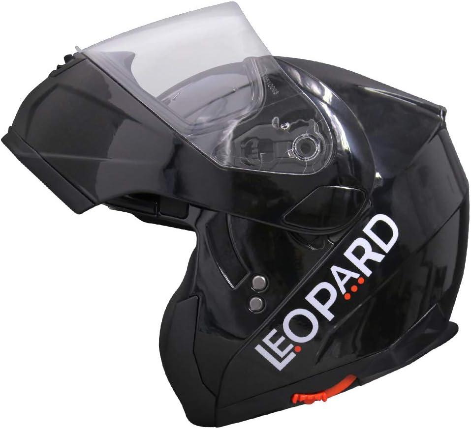 57-58cm Matt Black//White M Leopard LEO-838 Double Visor Modular Flip up front Motorcycle Motorbike Helmet ECE 2205 Approved