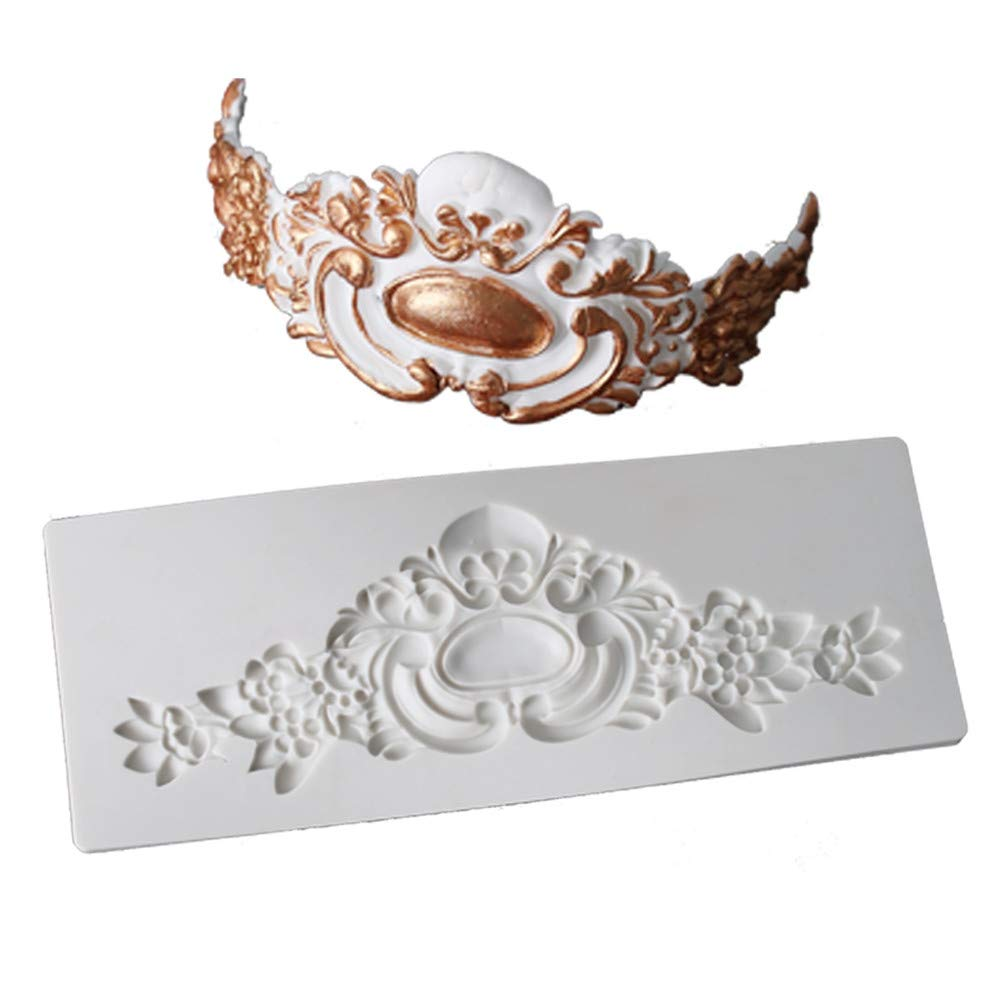 Food Grade Silicone Mold, Creative Crown Embossed Border Grain Chocolate Mold, Non-stick Easy To Get Rid Of Sugar   Cake Mold, DIY Baking Utensils