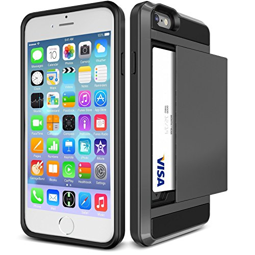 iPhone 6S Case, iPhone 6 Case, tekSonic [Card Slide][Dark Silver] - [Card Slot][Drop Protection][Heavy Duty][Wallet] - Case Cover For Apple iPhone 6 and iPhone 6S 4.7
