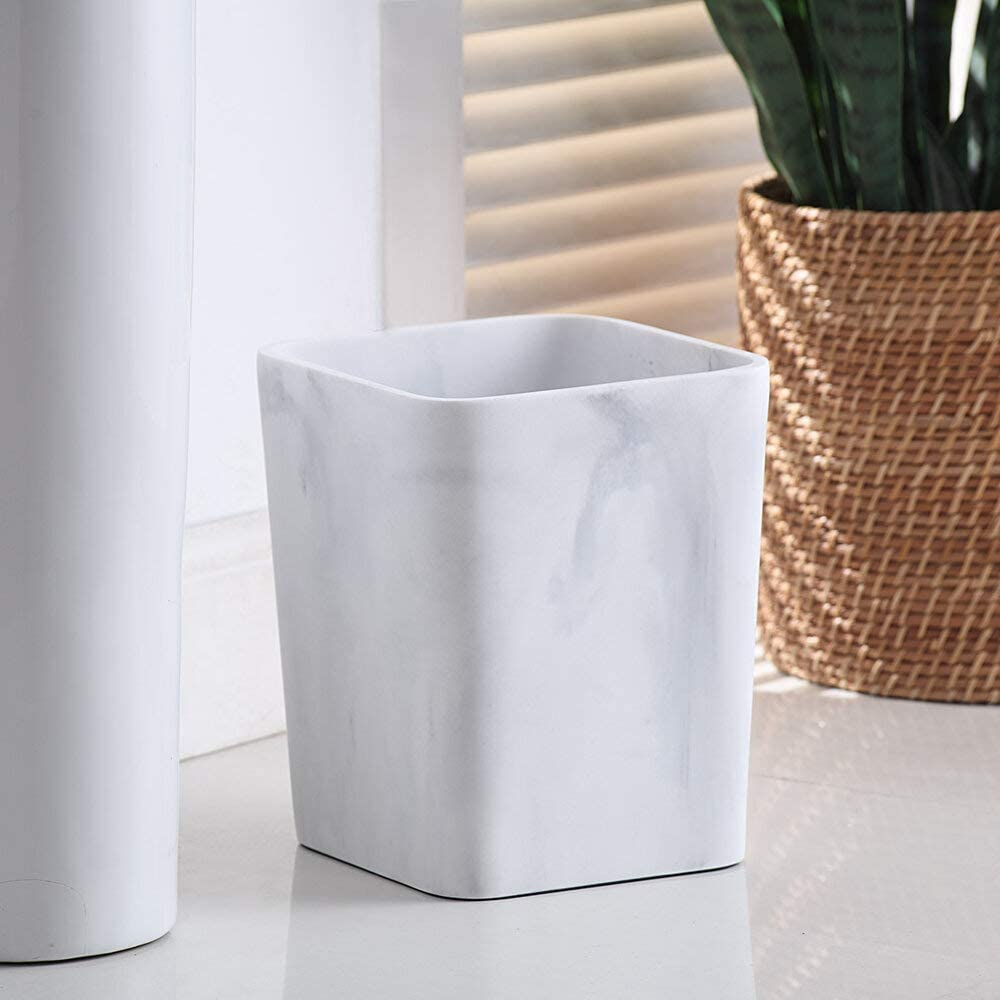 JN Better Homes & Gardens Faux Marble Wastebasket - White