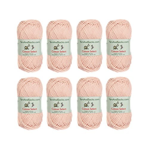 (Cotton Select Sport Weight Yarn - 100% Fine Cotton - 8 Skeins - Col 104 - Blushed Peach)