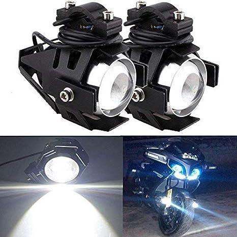 HANEU 2pcs 125W Phare Moto Feux Additionnels LED Phares Avant Moto Anti Brouillard Projecteur Spot LED Moto 3000LM U5 Etanche pour Moto Quad Scooter