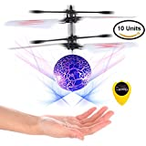 Slepwel Flying Ball Toys,  Mini RC infrared Helicopter - UFO Magic Ball Built-in Shinning LED Colorful Lights for Kids Toys,Christmas Gifts Toy for Boys and Girls-10 Units (Blue)