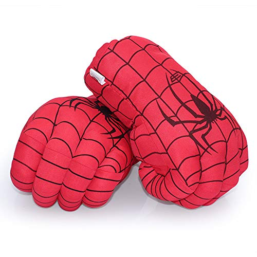 Aenmil Spiderman Hands, Soft Plush Kids Boxing Gloves Super Hero Spiderman Fists Cosplay Costume Toy Fists for Birthday Christmas ()