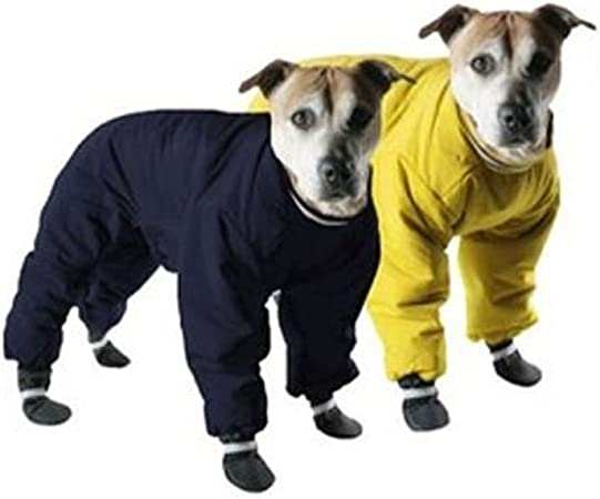 Amazon Com Muttluks Four Legged Nylon Reversible Dog Snow Suit Size 10 Yellow Black Pet Coats Pet Supplies