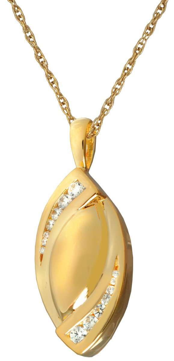 gold-Plated Sterling Silver Memorial Gallery MG-3195gp Double Tear Stone 14K gold Sterling Silver Plating Cremation Pet Jewelry