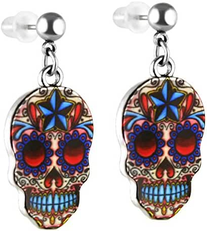 Unique Enamel Charm Multicolored Skull Pattern Inlay Dangle Earrings, Stailess Steel Earrins Pin