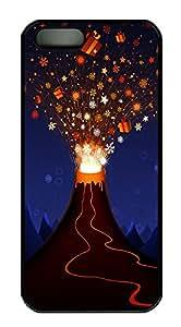 iPhone 5 5S Case Christmas Volcano PC Custom iPhone 5 5S Case Cover Black