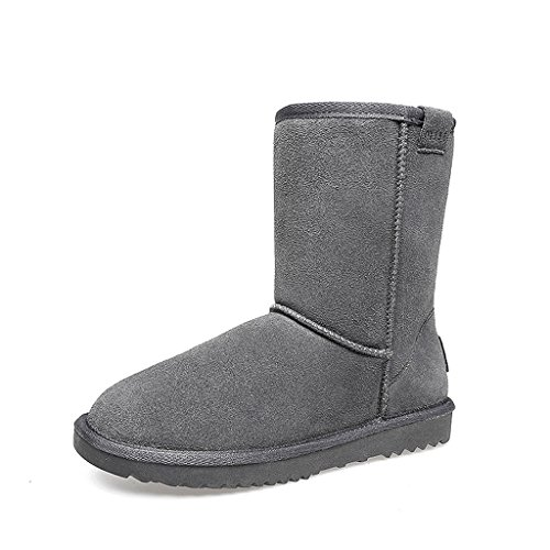 Women 's winter snow boots medium tube boots thicking cotton shoes leather flat shoes ( Color : Light brown  Size : US:5.5\UK:4.5\EUR:36 )