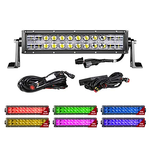 RGB LED Light Bar, Auto Power Plus 14 Inch 144W Off Road Work Lights Controlled By Bluetooth APP Spot Flood Combo Light Bar With Wiring Harness CREE 5D RGB LED Bar For Off Road Jeep Truck ATV SUV Boat