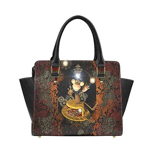 InterestPrint Custom Classic Shoulder Handbag Steampunk, Funny Monkey Shoulder Bag For Women