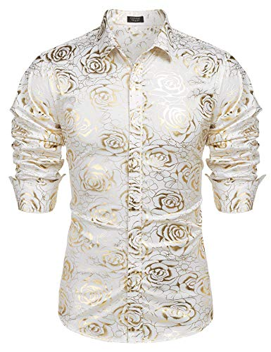 COOFANDY Men Rose Floral Slim Fit Shirts Shiny Novelty Nightclub Button Shirt