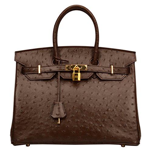 Ainifeel Women's Ostrich Embossed Leather Top Handle Handbags (Coffee) by Ainifeel