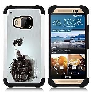 """HTC One M9 /M9s / One Hima - 3 en 1 impreso colorido de Altas Prestaciones PC Funda chaqueta Negro cubierta gel silicona suave (Silla de ruedas Deep Dark Significado"""")"""