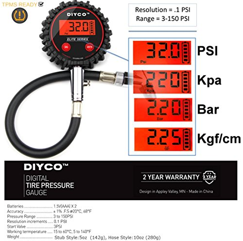 DIYCO D1 | Digital Tire Pressure Gauge | Interchangeable Air Chuck System OneConnex | Professional-Grade High Accuracy Gauges | for Cars Motorcycle Rv SUV Truck TPMS Bike Designed in USA by DIYCO (Image #6)